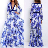 Blue Floral Pattern Plunging Neckline Bohemian Dacron Maxi Dress
