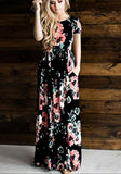 Black Floral Draped Round Neck Short Sleeve Bohemian Maxi Dress