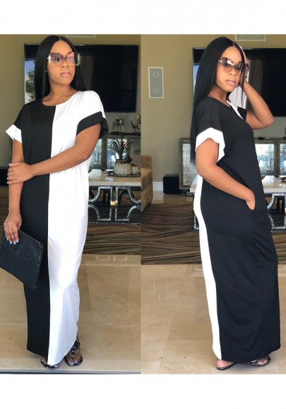 Black White Patchwork Round Neck Loose Bohemian Maxi Dress
