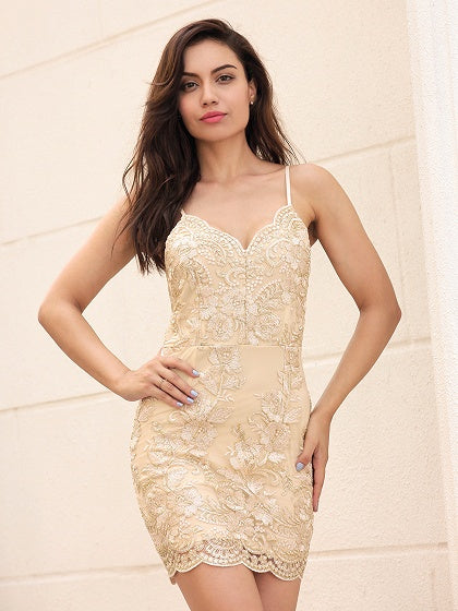 Golden V-neck Embroidery Spaghetti Strap Bodycon Mini Dress