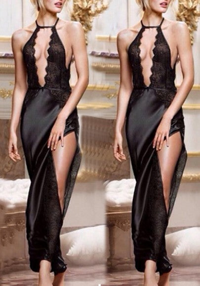 Black Patchwork Lace Backless Cut Out Halter Neck High Slit Party Maxi Dress
