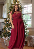 Burgundy Lace Draped Plus Size Banquet For Wedding Elegant Party Maxi Dress
