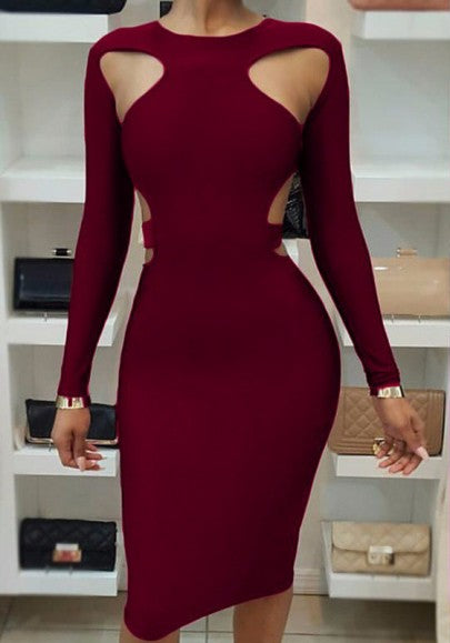Burgundy Cut Out Bodycon Long Sleeve Clubwear Party Pencil Midi Dress