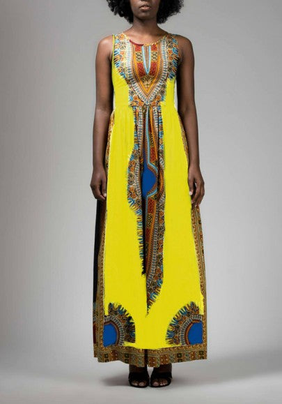 Yellow Draped Tribal Print High Waisted Elegant Party Maxi Dress