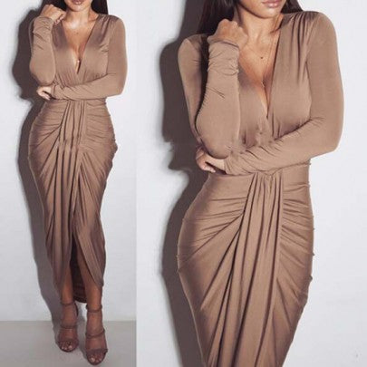 Khaki Deep V-neck Long Sleeve Khaki Ruched Below Knee Dress