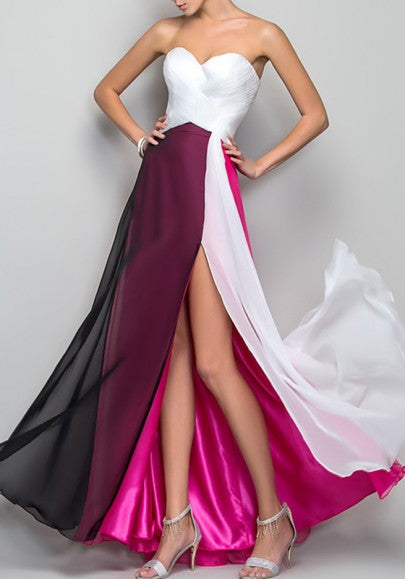 Red Patchwork Irregular Slit Bandeau Zipper Prom Evening Party Homecoming Maxi Dress