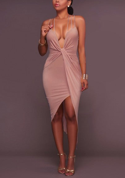 Khaki Irregular Cross Back Backless Deep V-neck Spaghetti Strap Party Midi Dress