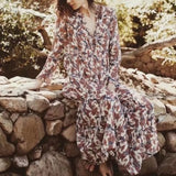 White Floral Sashes Ruffle Buttons Flowy Long Sleeve Bohemian Maxi Dress