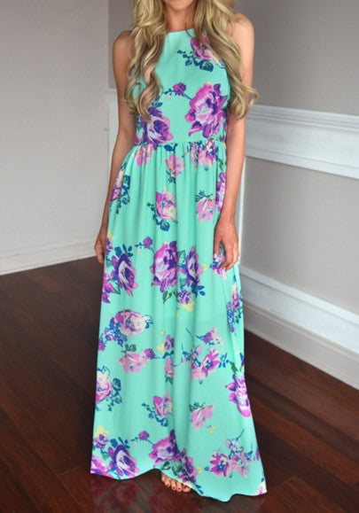 Green Floral Off Shoulder Open Back Round Neck Sleeveless Bohemian Maxi Dress