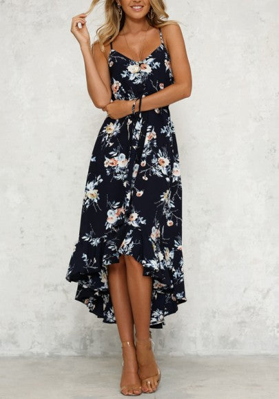 Navy Blue Spaghetti Strap High-Low V-neck High Waisted Bohemian Party Maxi Dress