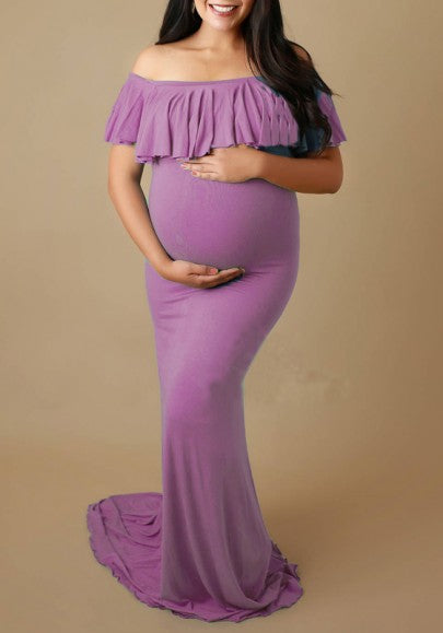 Purple Ruffle Draped Off-shoulder Boat Neck Elegant Maternity Maxi Dress