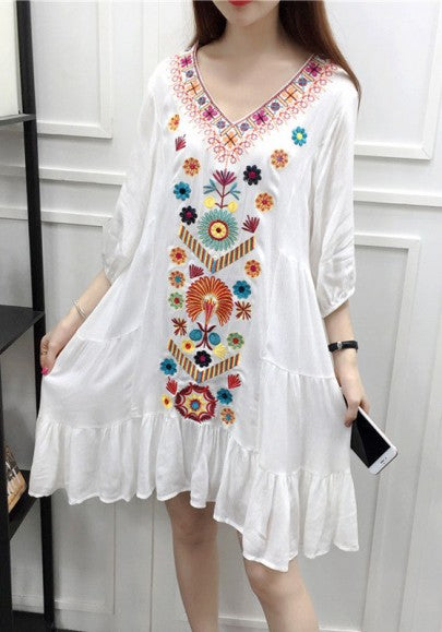 White Floral Embroidery Ruffle 3/4 Sleeve V-neck Peasant Dressy Mexican Style Mini Dress