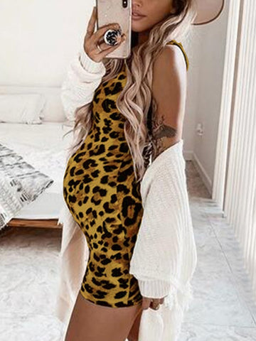 Yellow Leopard Condole Belt Print Round Neck Sleeveless Fashion Maternity Dress