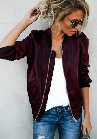 Wine Red Plain Zipper Pockets Round Neck Sports Coat