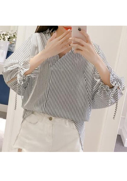Black Striped Drawstring Irregular Turndown Collar V-neck Long Sleeve Blouse