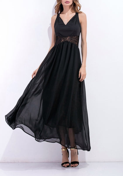 Black Patchwork Lace Hollow-out Grenadine Double-deck Maxi Dress