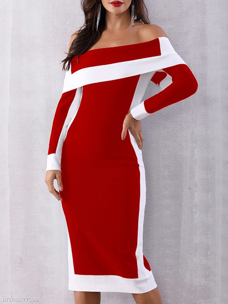 Red Patchwork Print Boat Neck Long Sleeve Fashion Midi Dress