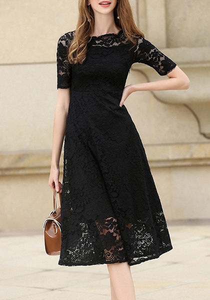 Black Patchwork Lace Zipper Round Neck Short Sleeve Sweet Midi Dress