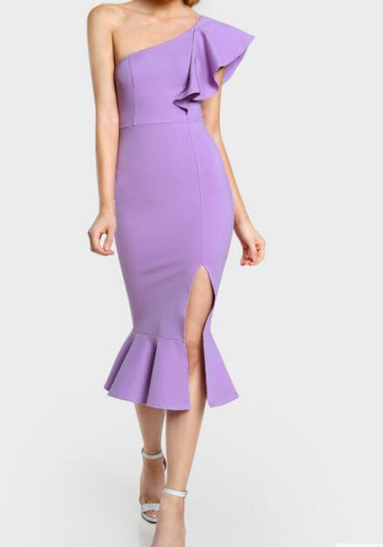 Purple Ruffle Irregular Slit One Shoulder Mermaid Bodycon Elegant Prom Evening Party Midi Dress