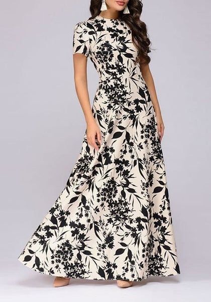 Apricot Floral Print Cut Out Round Neck Short Sleeve Maxi Dress