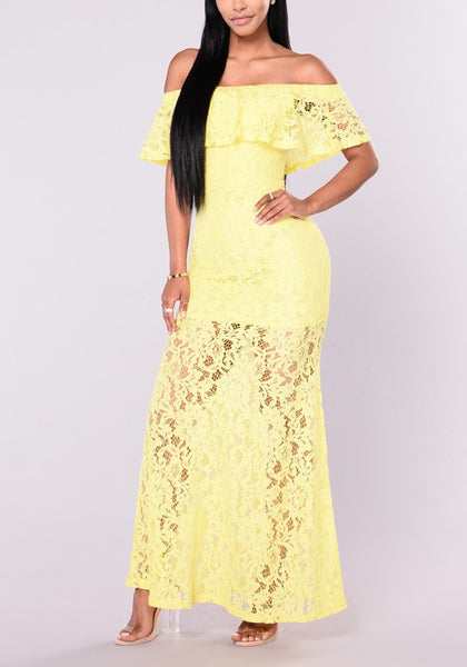 Yellow Floral Lace Draped Ruffle Off Shoulder Backless Homecoming Party Maxi Dress
