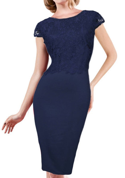 Navy Blue Patchwork Lace Round Neck Short Sleeve Fashion Midi Dress