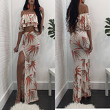 White-Orange Leaves Print Cascading Ruffle Side Slit Boat Neck 2-in-1 Maxi Dress
