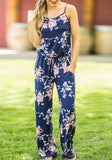 Blue Floral Spaghetti Strap Drawstring Waist Mid-rise Long Jumpsuit