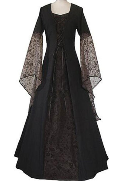 Black Patchwork Lace Draped Lace-up Flare Sleeve Elegant Party Maxi Dress