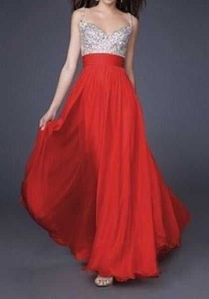 Red Patchwork Sequin Condole Belt Plunging Neckline Maxi Dress
