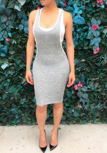 Grey Scoop Neck Backless Bodycon Clubwear Overall Midi Dress