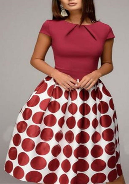 Burgundy Polka Dot Print Pleated Tutu Christmas Homecoming Party Midi Dress