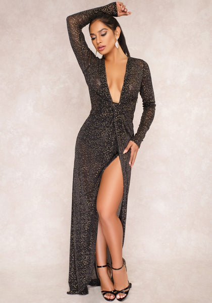 Black Bright Wire Irregular Slit Deep V-neck Clubwear Party Maxi Dress