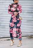 Pink Floral Print Round Neck Long Sleeve Midi Dress