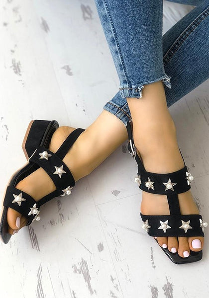 Black Square Toe Chunky Stars Fashion High-Heeled Sandals