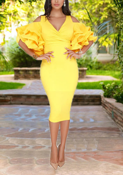 Yellow Cascading Ruffle Cut Out Sleeve High Waisted Bodycon Elegant Party Midi Dress