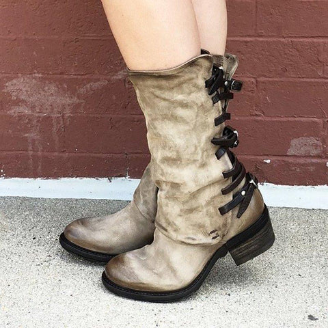 New Vintage Zipper Low Heel Boots Back Straps Faux Leather Mid-calf Boots