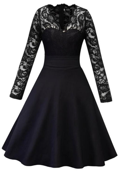 Black Patchwork Lace Cut Out V-neck Long Sleeve Tutu Prom Evening Party Maxi Dress
