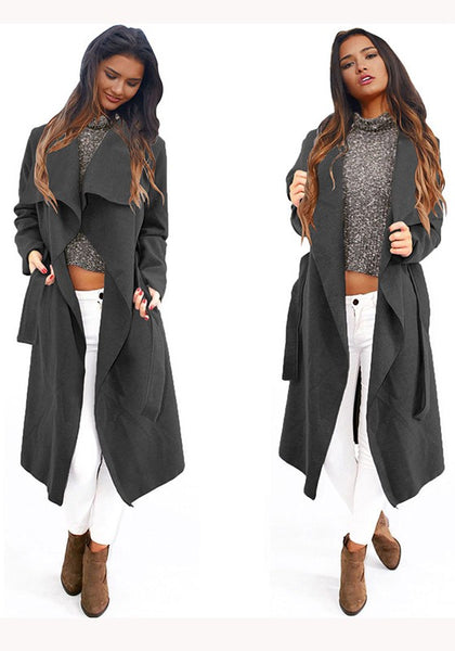 Black Plain Irregular Sashes Turndown Collar Long Sleeve Fashion Coat