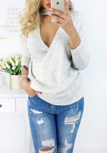 Beige Multi-functional Backless Irregular V-neck Long Sleeve Fashion Pullover Sweater