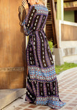 Black Floral Cut Out V-neck Long Sleeve Bohemian Maxi Dress