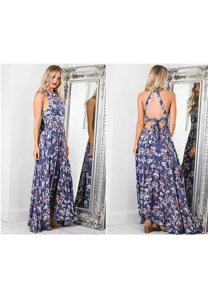 Navy Blue Floral Buttons Tie Back Bohemian Maxi Dress