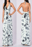 White Floral Print Tie Dye Halter Neck Tie Back Bohemian Maxi Dress