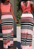 Pink Belt Striped Round Neck Sleeveless Fashion Maxi Dress