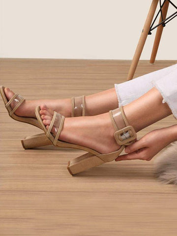 Apricot Round Toe Chunky Fashion High-Heeled Sandals