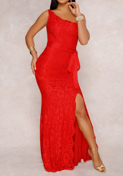 Red Lace Sashes One-shoulder Slit Side Elegant Banquet NYE Party Maxi Dress