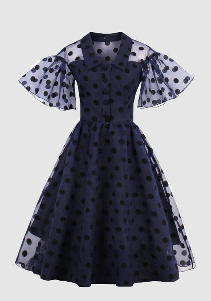 Navy Blue Polka Dot Grenadine Pleated Single Breasted Ruffle Tutu Party Midi Dress