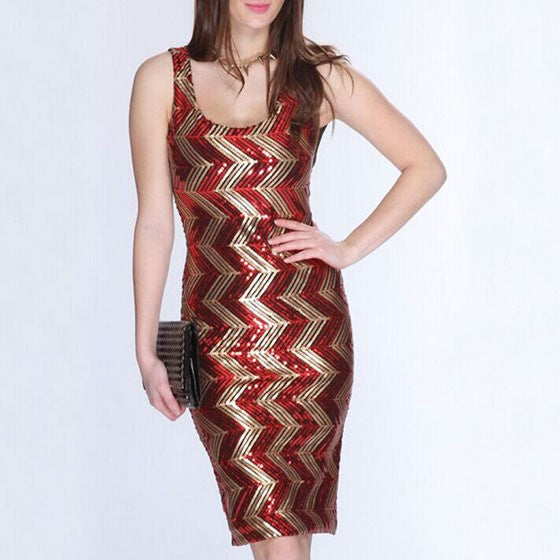Red-Golden Patchwork Sequin Round Neck Sleeveless Bodycon Club Midi Dress