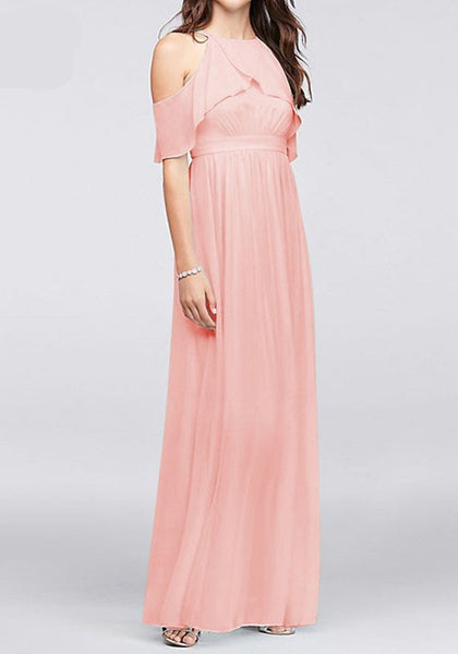 Pink Cut Out Ruffle Halter Neck Sarapis Sundresses Banquet Party Chiffon Maxi Dress
