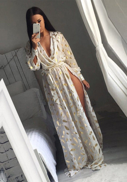 White Floral Belt Side Slit Plunging Neckline Maxi Dress